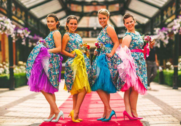 Petticoat Bridesmaid Dresses Colourful Fun Garden Yurt Wedding http://mikiphotography.info/