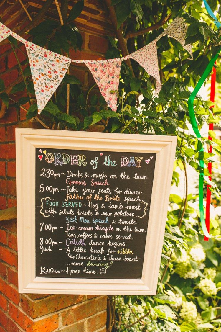 Black Board Sign Order Day Colourful Fun Garden Yurt Wedding http://mikiphotography.info/