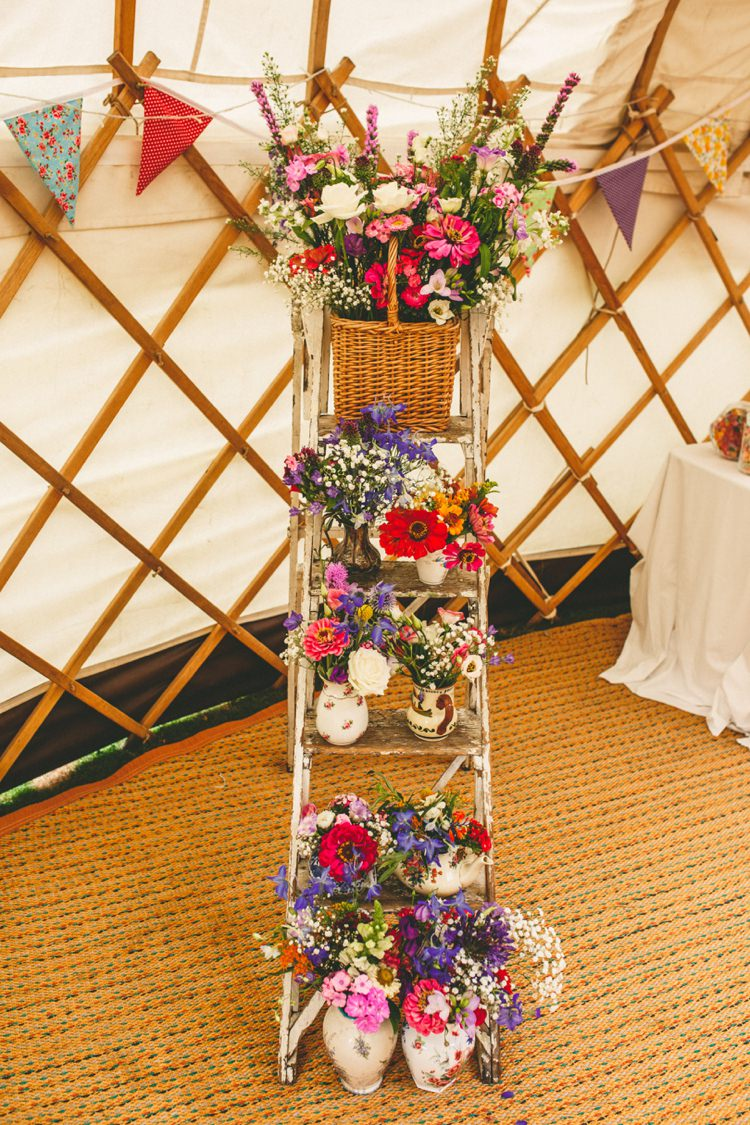 Ladder Flowers Decor Colourful Fun Garden Yurt Wedding http://mikiphotography.info/