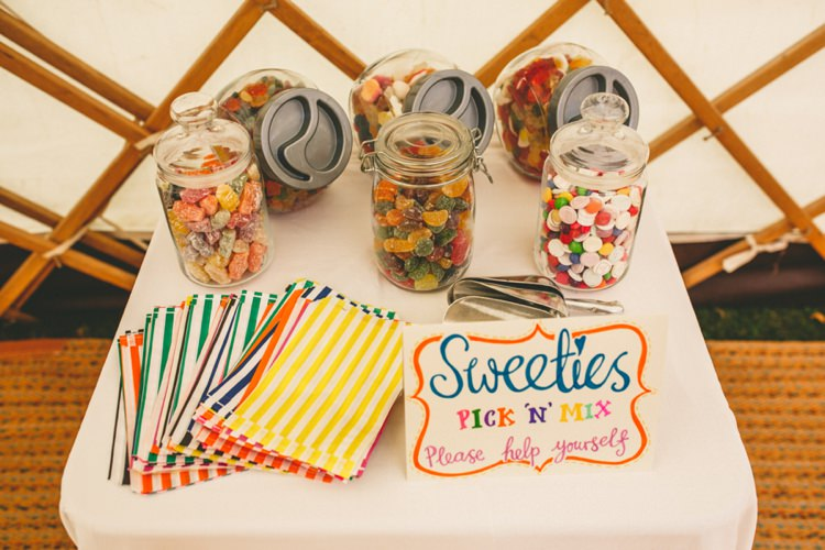 Sweets Sweetie Table Colourful Fun Garden Yurt Wedding http://mikiphotography.info/