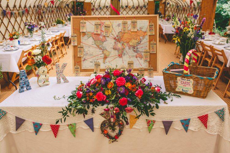Map Travel Seating Table Plan Chart Colourful Fun Garden Yurt Wedding http://mikiphotography.info/