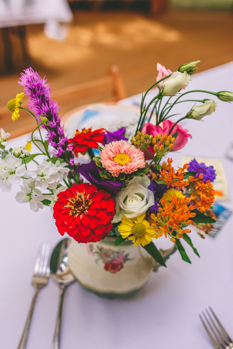 Flowers Vase Jug Vintage Decor Centrepiece Colourful Fun Garden Yurt Wedding http://mikiphotography.info/
