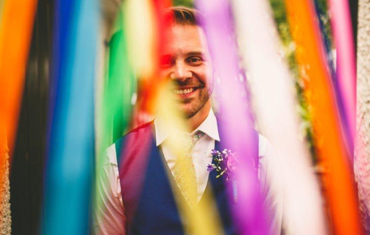 Floral Tie Groom Blue Waistcoat Colourful Fun Garden Yurt Wedding http://mikiphotography.info/