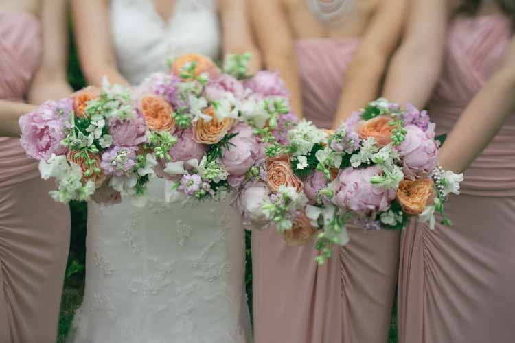 Bouquets Flowers Bride Bridal Peony Pink Sweet Peas Bridesmaid Natural English Country Garden Peonies Wedding http://www.dewiclough.com/