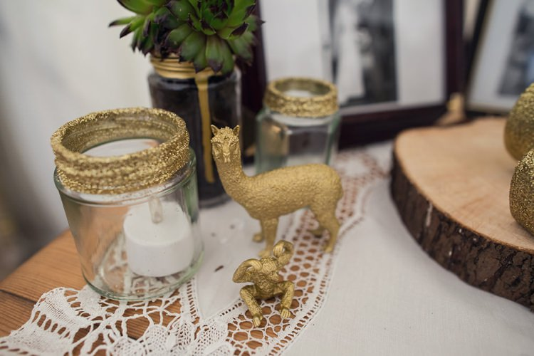 Glitter Gold Jars Candles Indie Glam Feathers Shells Slate Sea Inspired Wedding http://assassynation.co.uk/