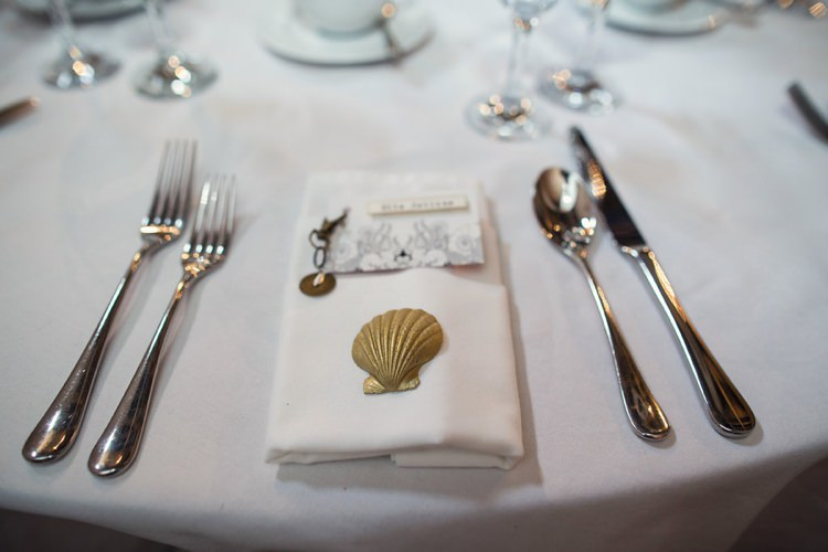 Gold Shell Keyring Favours Indie Glam Feathers Shells Slate Sea Inspired Wedding http://assassynation.co.uk/