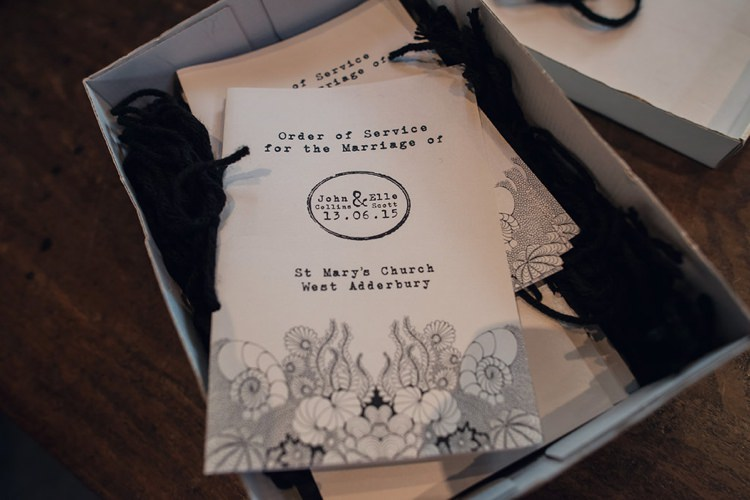 Order of Service Stationery Illustrated Indie Glam Feathers Shells Slate Sea Inspired Wedding http://assassynation.co.uk/