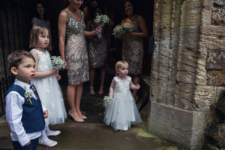 Flowergirls Page Boys Indie Glam Feathers Shells Slate Sea Inspired Wedding http://assassynation.co.uk/