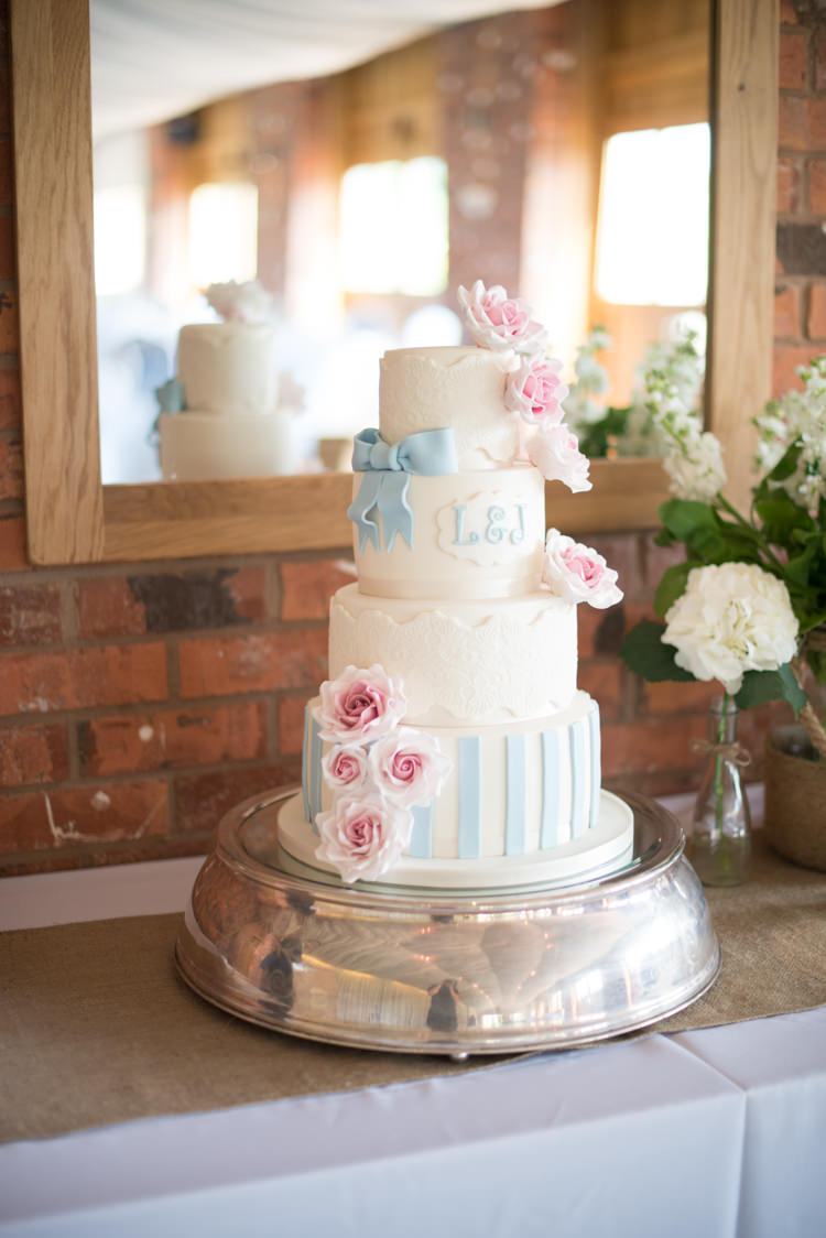 Shabby Chic Cake Flowers Bow Stripes Blue Pink Pretty Pastel Relaxed Rustic Wedding http://www.kayleighpope.co.uk/