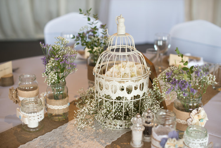 Birdcage Flowers Centrepiece Pretty Pastel Relaxed Rustic Wedding http://www.kayleighpope.co.uk/