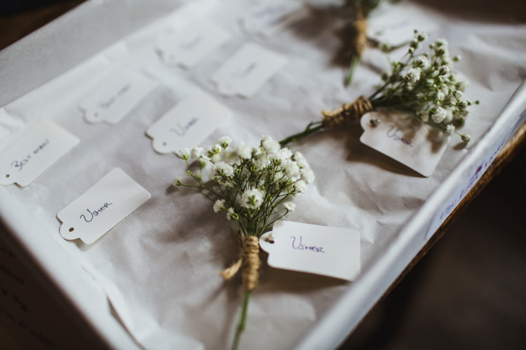 Gypsophila Buttonhole Very Casual Country Barn Wedding http://amybphotography.co.uk/