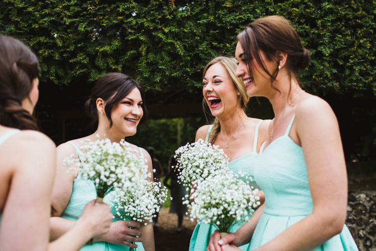 Mint Bridesmaid Dresses Gypsophia Bouquets Flowers Very Casual Country Barn Wedding http://amybphotography.co.uk/