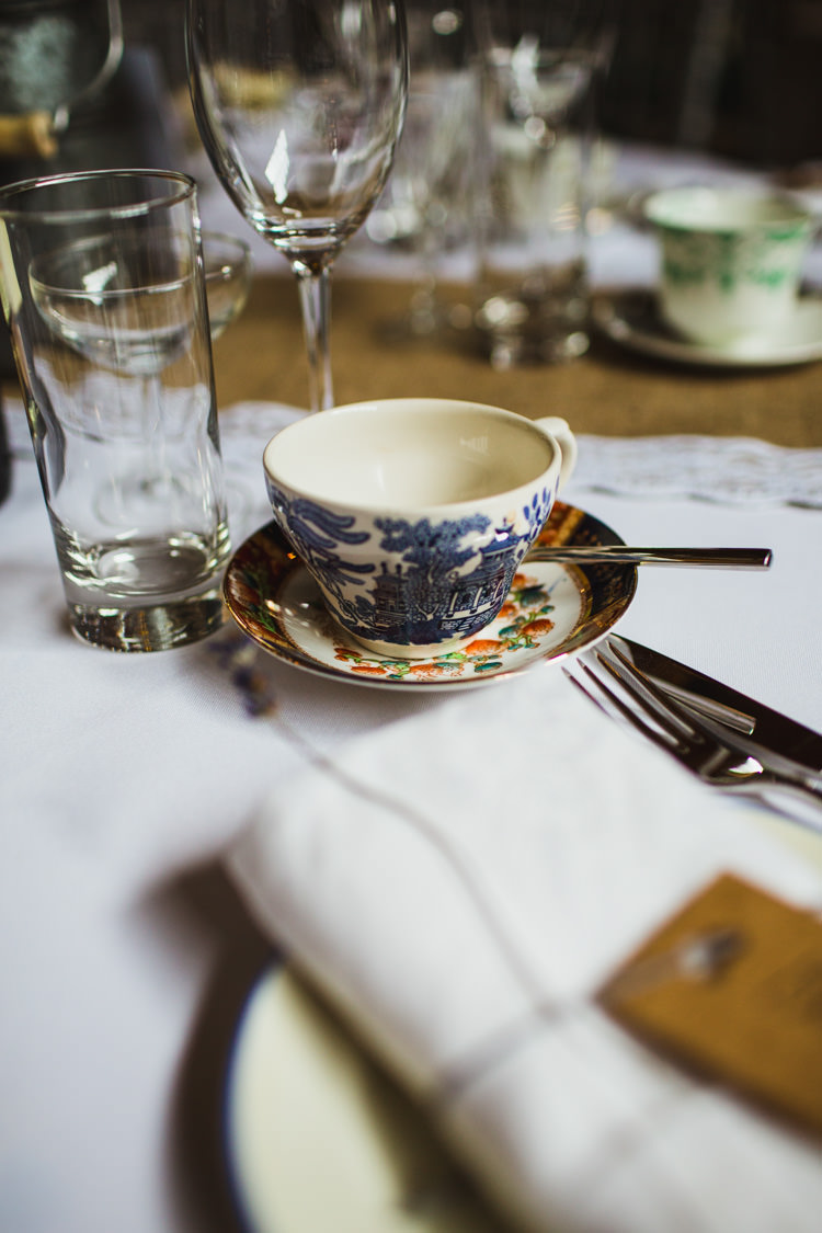 Afternoon Tea Cups China Very Casual Country Barn Wedding http://amybphotography.co.uk/
