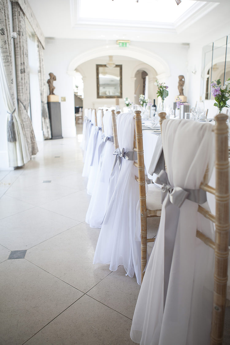 Chair Sash Ribbon Modern Classic Grey White Chic Elegant Wedding http://www.chanelleknapp.com/