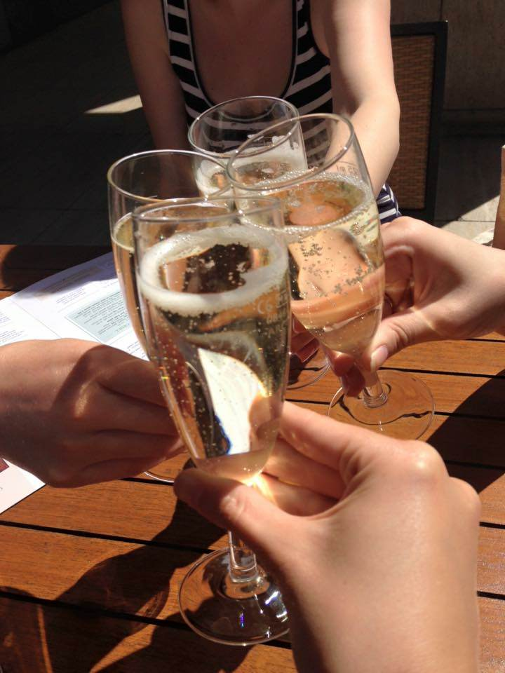 WWW Celebrating with my bridesmaids after picking 'the dress'