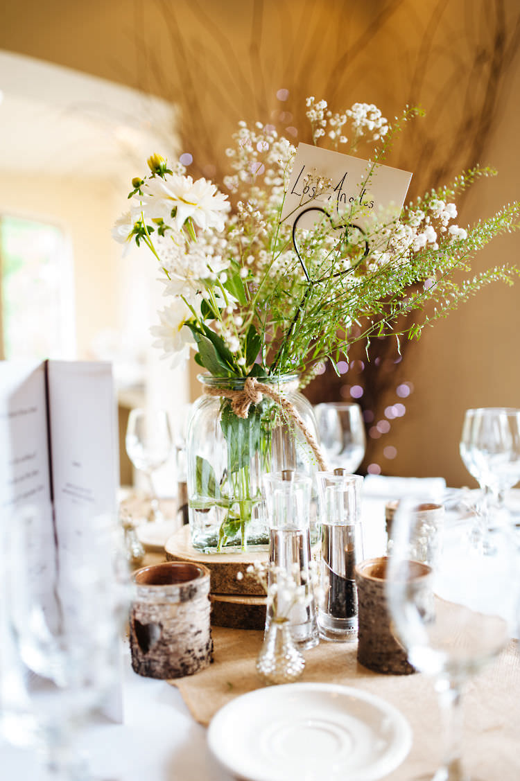 Jar Twine Flowers Log White Centrepiece Classic English Country Garden Cotswolds Wedding http://www.chris-seddon.co.uk/
