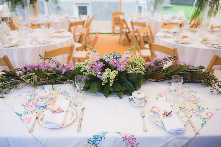 Top Tables Flowers Garland Swag Family Fun Homely Castle Wedding http://www.lifeinfocusphotography.co.uk/