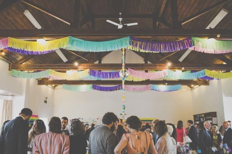 Fringed Garlands Bunting Bright Fun Multicoloured Wool Pom Pom Crafty Wedding http://meliamelia.com/