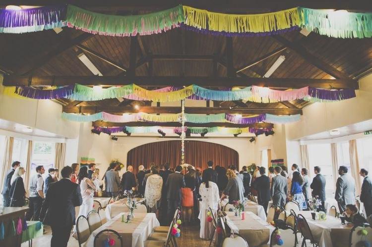 Dorothea Mitchell Hall Bright Fun Multicoloured Wool Pom Pom Crafty Wedding http://meliamelia.com/