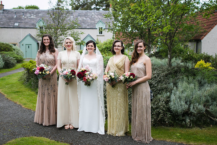 Mismatched Long Bridesmaid Dresses Magical Gold Burgundy 1930s Wedding http://laurenmcglynnphotography.com/