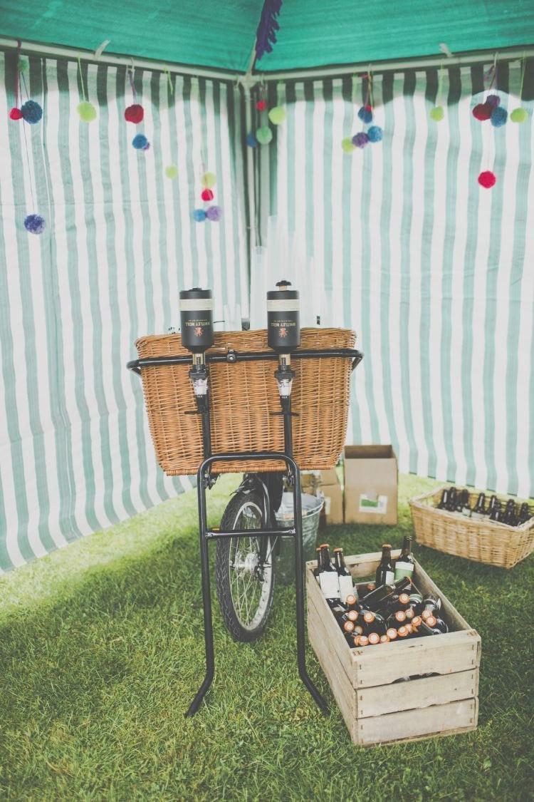 Drinks Bicycle Station Cart Bar Bright Fun Multicoloured Wool Pom Pom Crafty Wedding http://meliamelia.com/