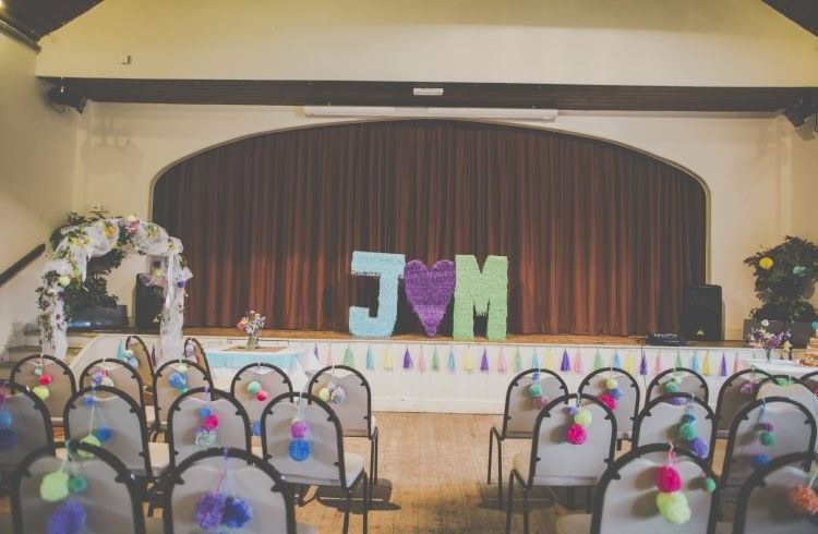 Giant Fringed Letters Bright Fun Multicoloured Wool Pom Pom Crafty Wedding http://meliamelia.com/