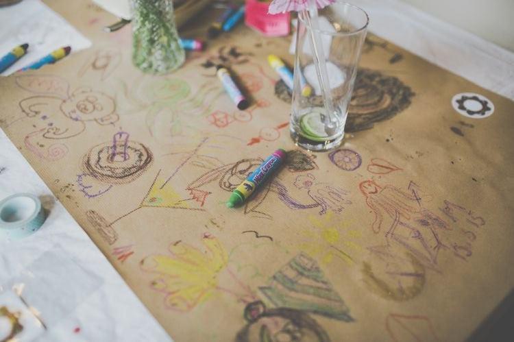 Colouring Table Cloths Paper Runners Bright Fun Multicoloured Wool Pom Pom Crafty Wedding http://meliamelia.com/