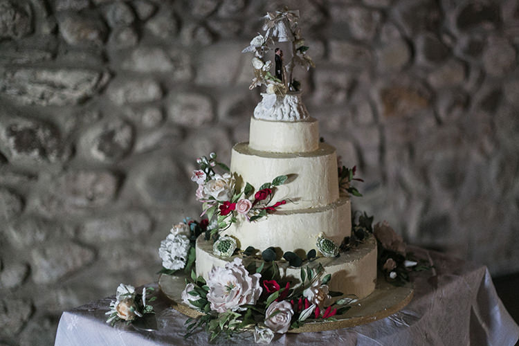 Rustic Cake Tiers Butter Cream Flowers Magical Gold Burgundy 1930s Wedding http://laurenmcglynnphotography.com/