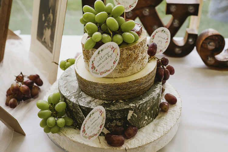 Cheese Tower Stack Cake Whimsical Rustic DIY Wedding http://www.yorkplacestudios.co.uk/