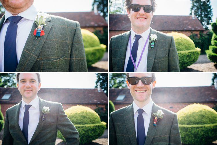 Lego Buttonholes Groomsmen Garden Music Festival Double Decker Bus Marquee Wedding http://www.mariannechua.com/