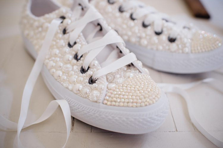 Pearl Encrusted Converse Bride Bridal Garden Music Festival Double Decker Bus Marquee Wedding http://www.mariannechua.com/