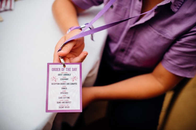 Order of Service Lanyards Stationery Garden Music Festival Double Decker Bus Marquee Wedding http://www.mariannechua.com/
