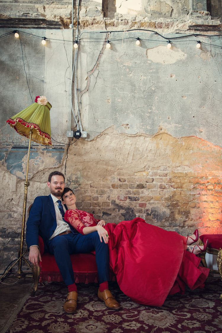 Unique & Decadent Masked Ball Wedding with a Red Dress | Whimsical ...