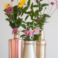 DIY Metallic Spray Bottles Wedding DIY Flowers Tutorial Gold Copper