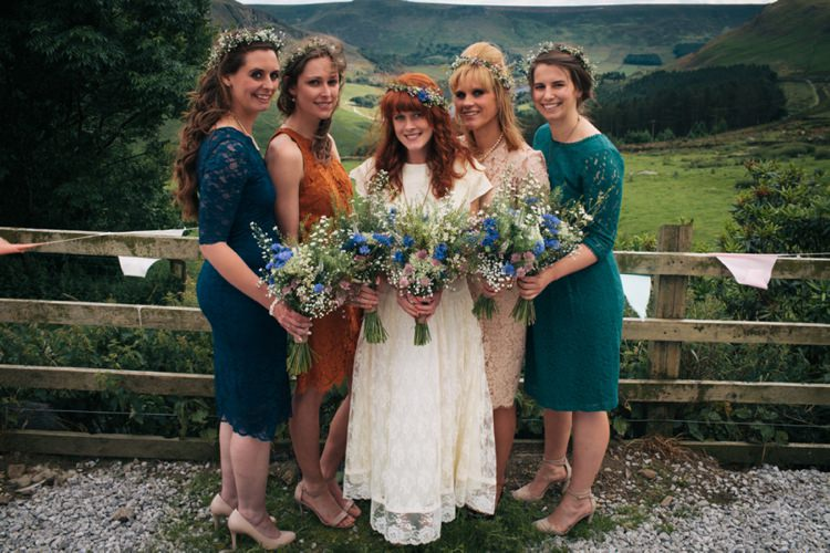 Mismatched Lace Bridesmaid Dresses Industrial Farm Barn Music Festival Wedding http://luciusfoxphotography.com/