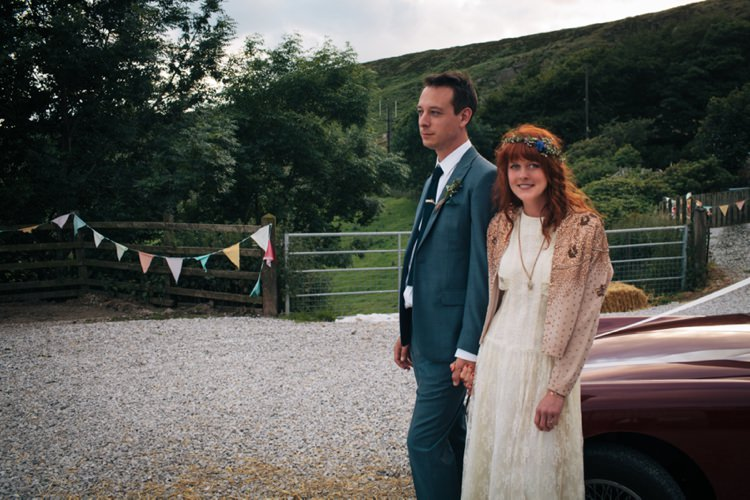 Cardigan Bride Bridal Dress Industrial Farm Barn Music Festival Wedding http://luciusfoxphotography.com/