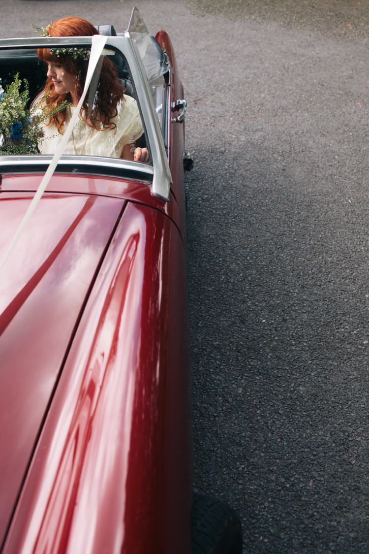 Classic Red Convertible Car Transport Industrial Farm Barn Music Festival Wedding http://luciusfoxphotography.com/