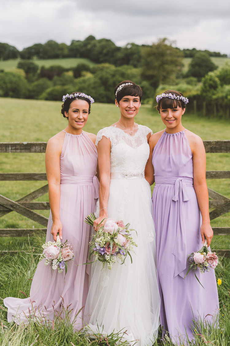 Quirky sweet lilac country barn wedding with pug dougie lilac purple pink long bridesmaid dresses long quirky country barn wedding pug dog http ombrellifo Image collections