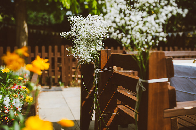 Baby Breath Gyp Gypsophila Chair Flowers Casual Relaxed Outdoor Country Rustic Pub Wedding http://www.alextentersphotography.co.uk/