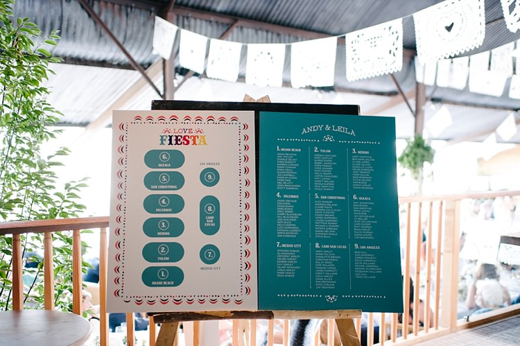 Modern Graphic Seating Plan Chart Table Colourful Fun Mexian Fiesta Wedding http://lilysawyer.com/