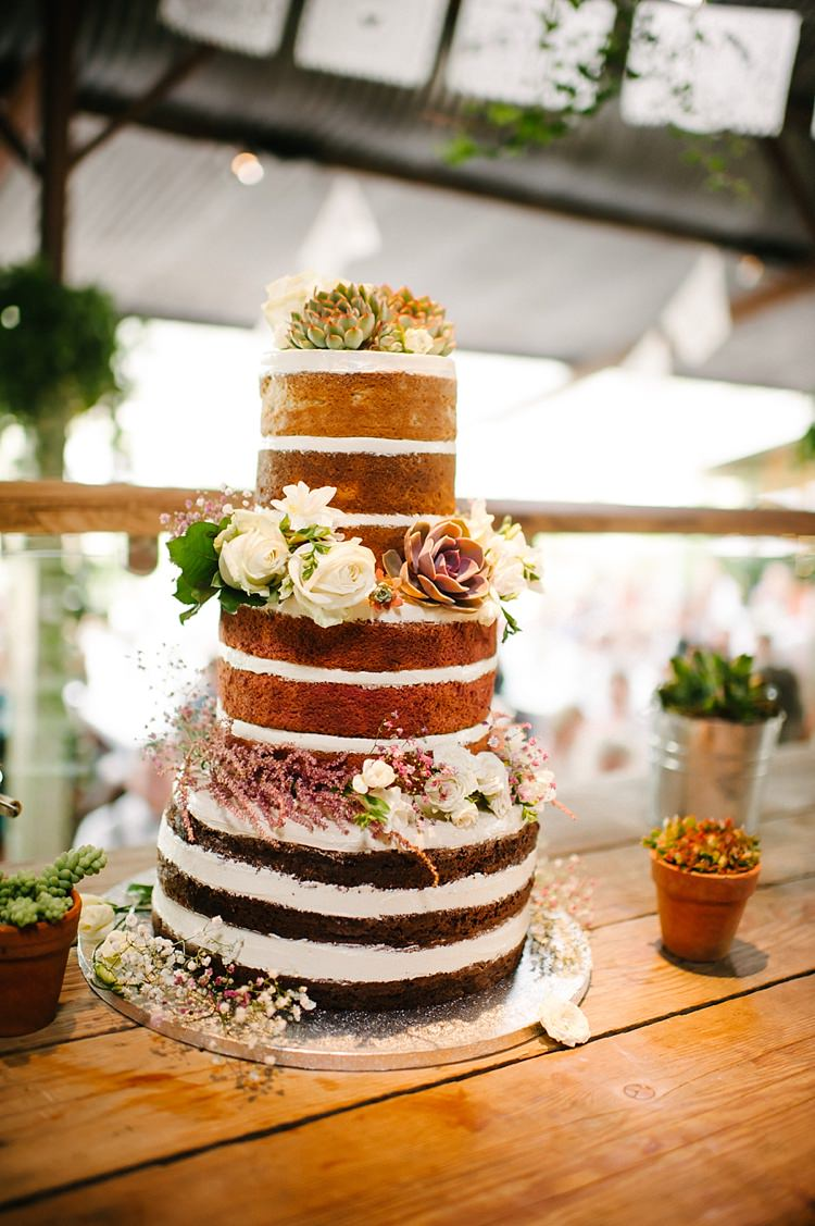 Naked Cake Sponge Flowers Succulents Layers Colourful Fun Mexian Fiesta Wedding http://lilysawyer.com/