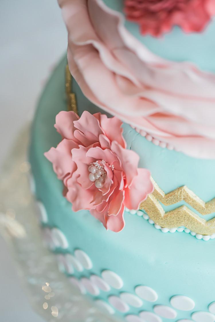 Cake Chevron Dots Ruffle Glitter Gold Mint Pink DIY Outdoor Garden Beach Wedding http://www.carleybuickphotography.com/