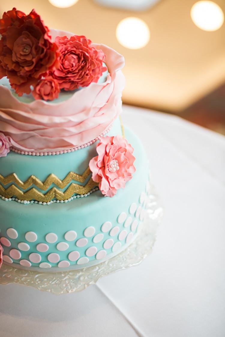 Cake Chevron Spots Dots Flowers Ruffle Glitter Gold Mint Pink DIY Outdoor Garden Beach Wedding http://www.carleybuickphotography.com/