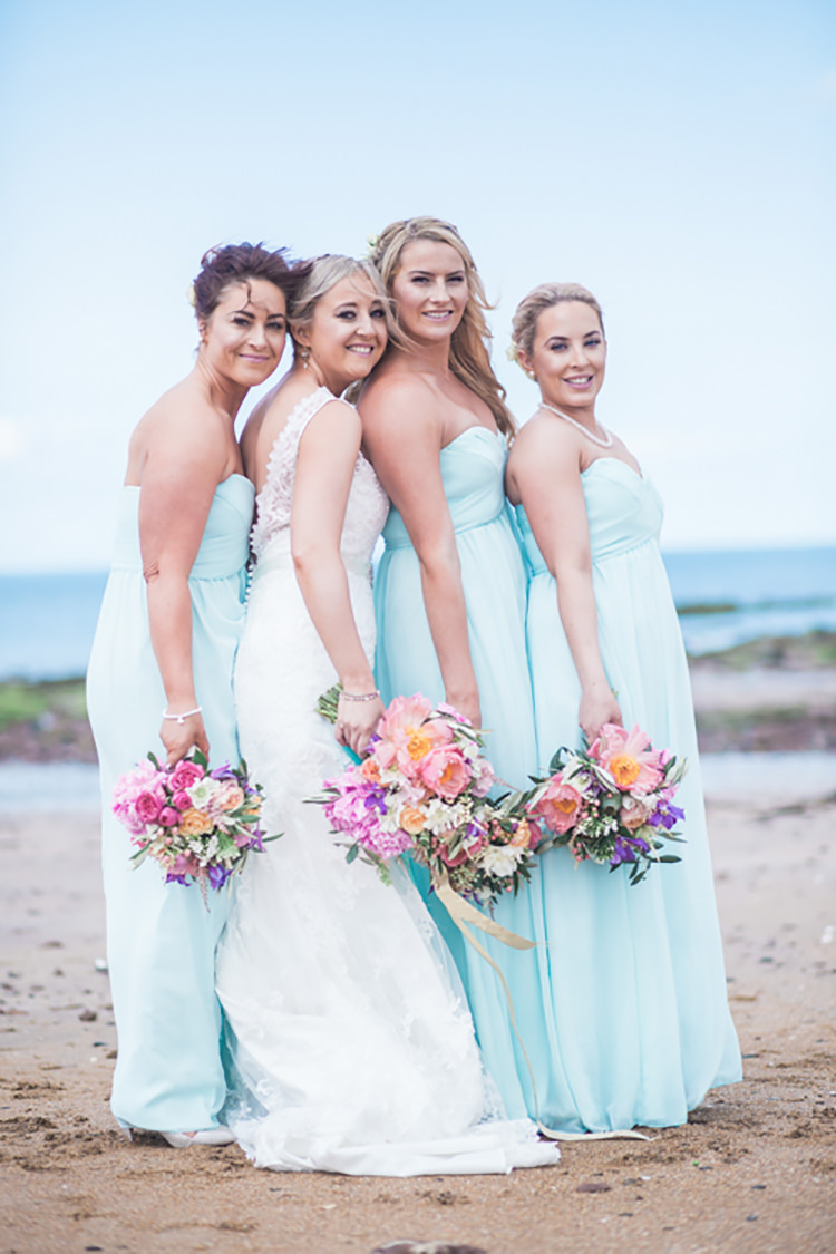 Long Bridesmaid Dresses Ribbon Bouquets BHS Glitter Gold Mint Pink DIY Outdoor Garden Beach Wedding http://www.carleybuickphotography.com/