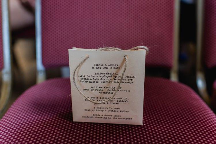 Order of Service Ceremony Confetti Bag Paper Festival Tipi Bluebell Woods Wedding http://alexa-loy.com/