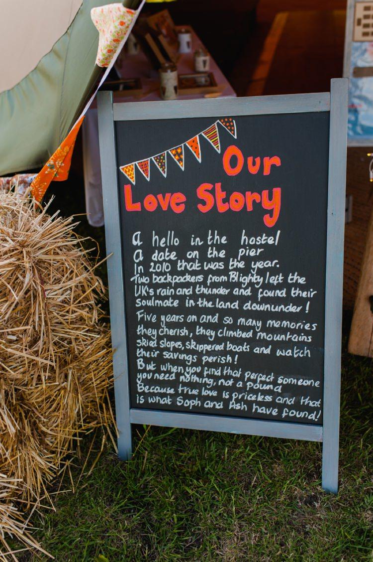 Love Story Sign Festival Tipi Bluebell Woods Wedding http://alexa-loy.com/