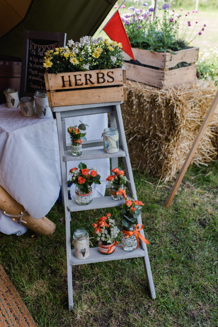 Crate Ladder Flowers Jars Festival Tipi Bluebell Woods Wedding http://alexa-loy.com/