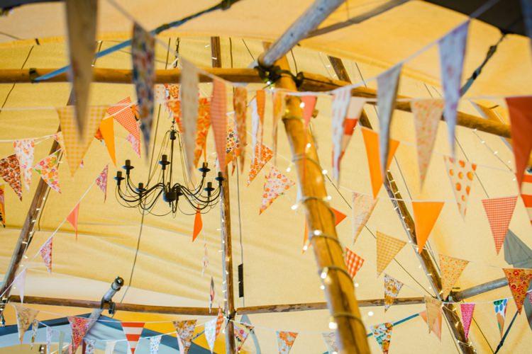 Orange Bunting Festival Tipi Bluebell Woods Wedding http://alexa-loy.com/
