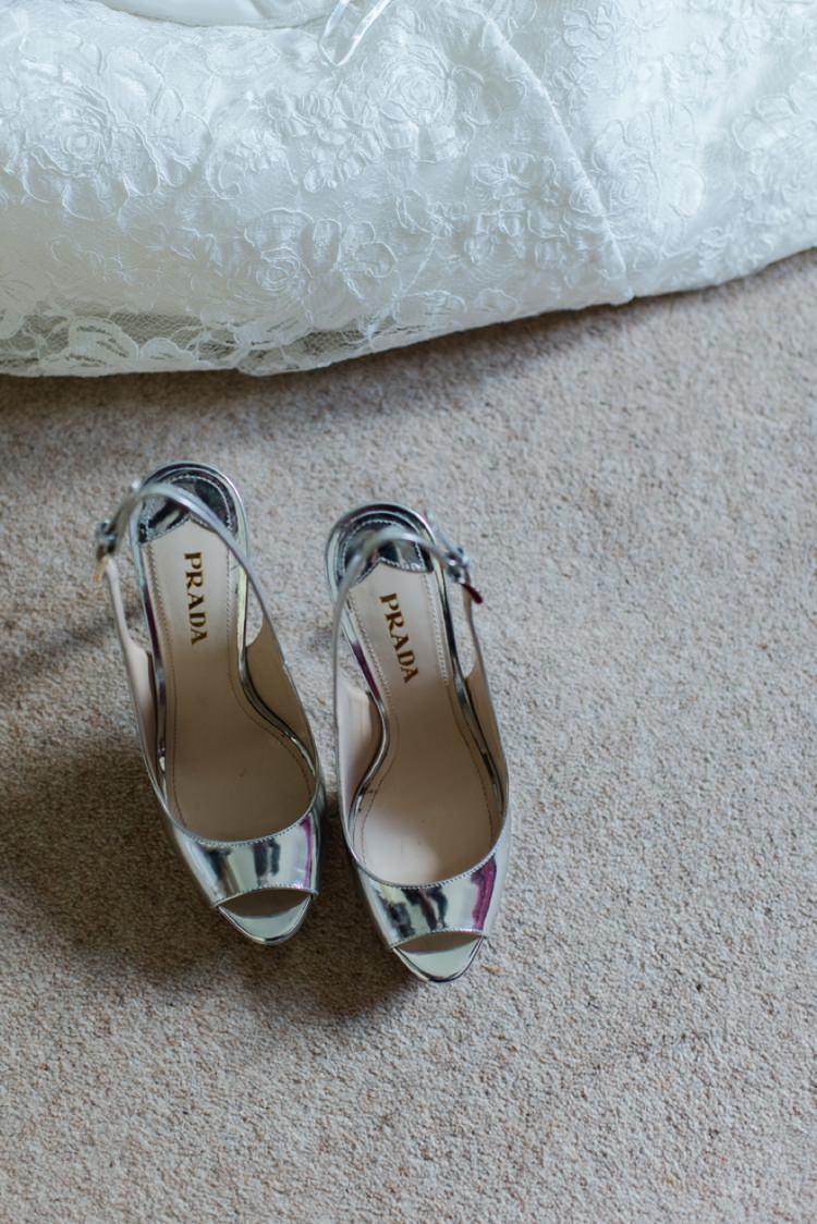 Silver Metallic Prada Shoes Bride Bridal Festival Tipi Bluebell Woods Wedding http://alexa-loy.com/