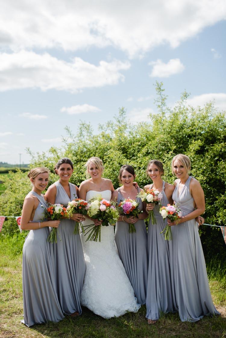 Grey Multi Way Bridesmaid Long Dresses Festival Tipi Bluebell Woods Wedding http://alexa-loy.com/